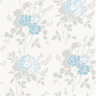 Blue Silver White Birch Tree Floral Wallpaper Metallic Leaf Fine Decor Claudia