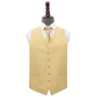 Gold Plain Shantung Wedding Waistcoat & Cravat Set
