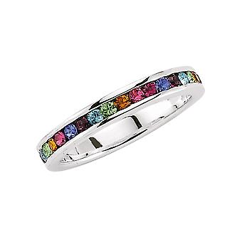 Jewelco London Rhodium Plated Sterling Silver Multi Coloured Round Brilliant Cubic Zirconia Rainbow Full Eternity Ring 4mm