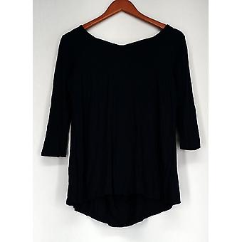 Kate & Mallory 3/4 mouw top w/Scoop hals & Criss Cross blauw A428883