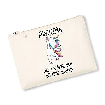 Aunticorn Unicorn Natural Canvas Accessory Bag