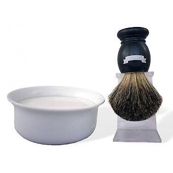 Nacre Grey barbering Box-Bol/såpe/Blaireau og stativ