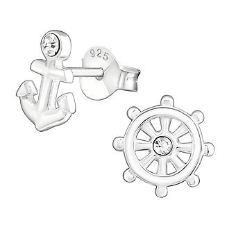 Anchor And Ship's Wheel - 925 Sterling Silver Crystal Ear Studs - W24063x