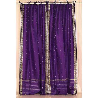 Tie supérieure pure Sari rideau de pourpre / Drape / panneau - paire