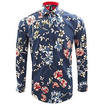 Guide London Flower Garden Print Pure Cotton Long Sleeve Mens Shirt
