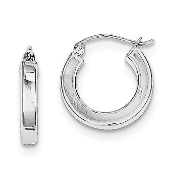 925 Sterling Silver Hollow Polished Hinged post Square Tube Hoop Boucles d'oreilles - 1,7 Grammes