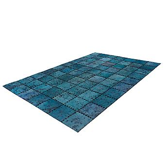 Cuir Patchwork Rug Fur Rugs Tapis en cuir Stitched Stitched Blue Turquoise
