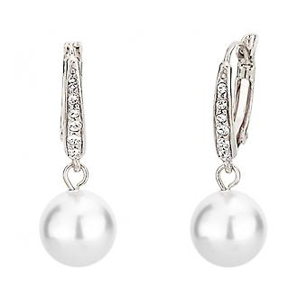 Reiziger Drop Earrings-Leverback-10mm witte parel-rhodium plated-114144