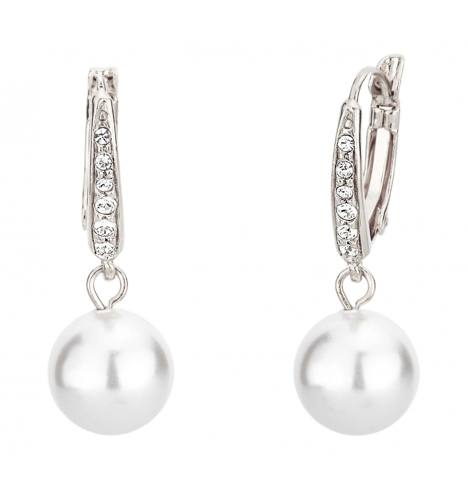 Traveller drop earring - leverback - 10mm white pearl - rhodium plated - 114144