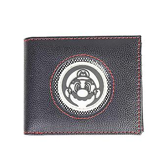 Super Mario Wallet Patch Circle Logo new Official Nintendo Black Bifold