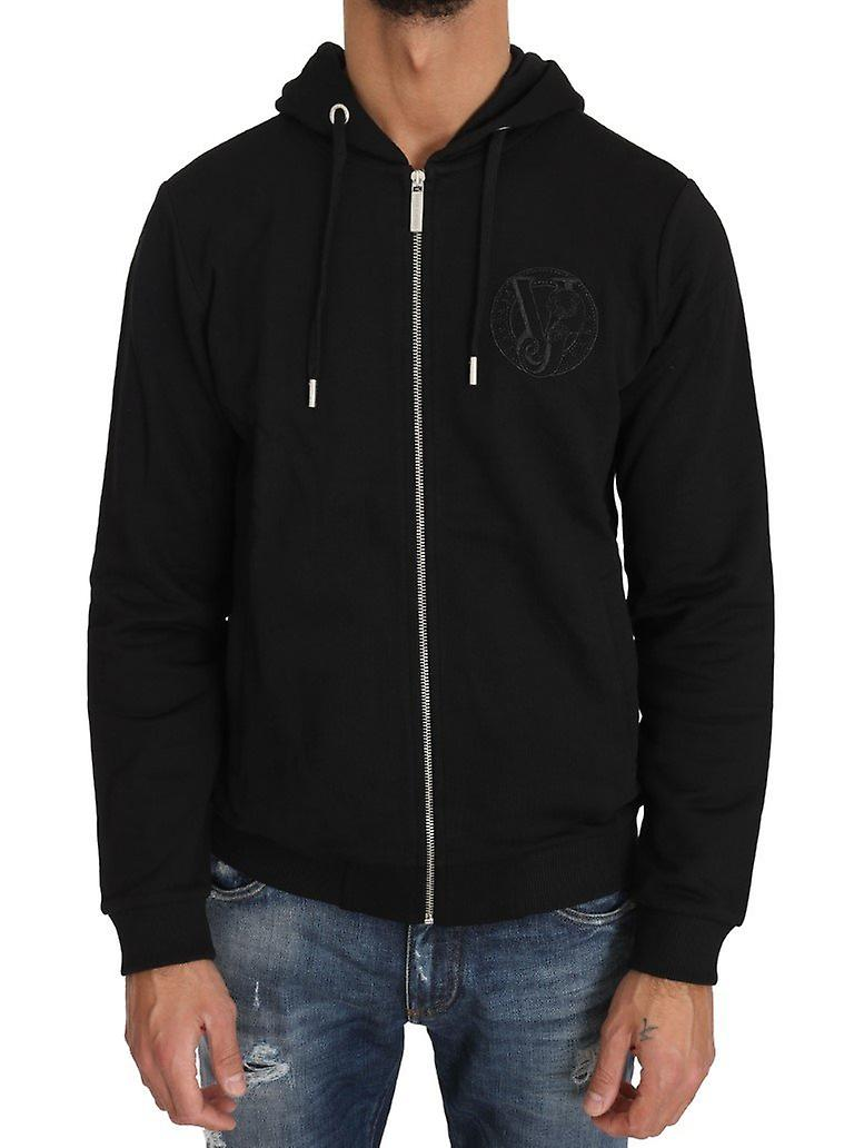 Hooded Black Cotton Full Zipper Sweater