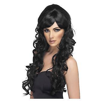 Womens Pop Starlet peruca preto vestido extravagante acessório