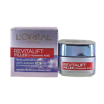 L'Oreal Revitalift Filler Renew Anti-Ageing Day 50ml Replumping Care for Anti Wrinkle and Defined Contours (Concentrated Hyaluronic Acid)