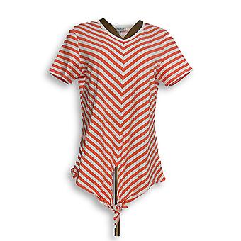 North Style Women's Top Striped Short Sleeve Tied Front Pink