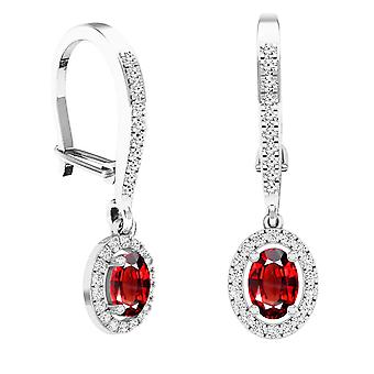 Dazzlingrock Collection 10K 7X5 MM Each Oval Garnet & Round White Diamond Ladies Dangling Drop Earrings, White Gold
