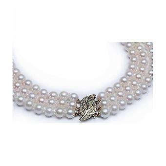 Luna-parels Akoya Parel ketting met diamanten HKS91