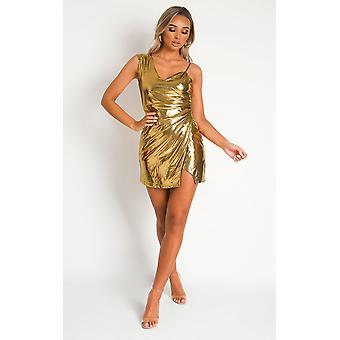 IKRUSH النساء عسلي واحد الكتف فستان صغير معدني