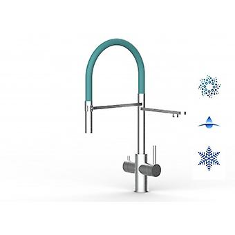 5 Way Inox Filter Tap Ideal For Professional Sparkling, Plain And Cooled Water Systems - Brushed Finish - Turquoise - 451