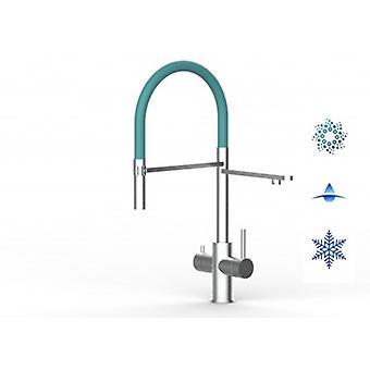 5-vejs Inox filter Tap ideel til professionelle mousserende, almindelige og afkølede vandsystemer-børstet finish-turkis-451