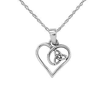 Celtic Holy Trinity Eternity Knotwork Love Heart Shape Drop Style Necklace Pendant 'Kady' - Includes A 18