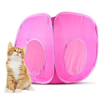 Pink Pop-Up Cat Play Cube with Storage Bag