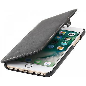 Case For iPhone 8 Plus/7 Plus Book Type Black In True Leather