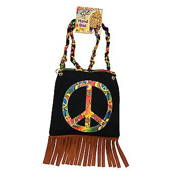 Hippie Hippy 1960s 1970s Flower Power Psychedelic Women Costume Peace Sign Hand Bag