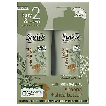 Suave professionals shampoo and conditioner, almond + shea butter, 1 set