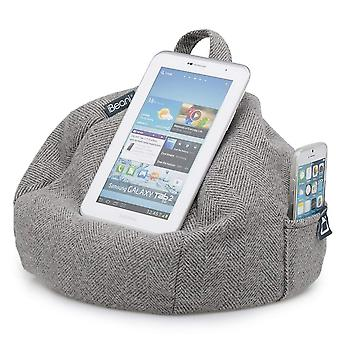 Ipad, tablet & ereader bean bag stand by ibeani - herringbone grey