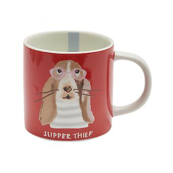 Taza de porcelana Joules Cuppa con detalle de impresión - Orange Dog