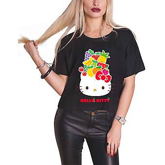 Hello Kitty T shirt Fruit logo nya officiella Womens Crop topp svart