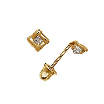 14k Geel Goud CZ Cubic Zirconia Gesimuleerde Diamond Small Kite Shape Screw terug Oorbellen Maatregelen 6x6mm Sieraden Geschenken fo