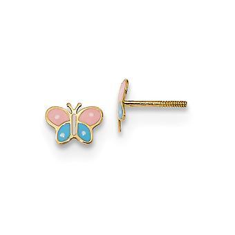 7mm 14k Madi K Polido Borboleta Angel Wings Parafuso de volta Post Brincos Joias Presentes para Mulheres