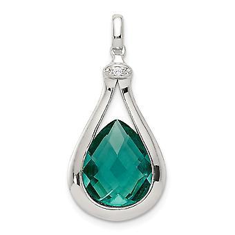 925 Sterling Silver στιλβωμένο με σπονδυλικής στήλης πράσινο γυαλί και CZ κυβικά Zirconia προσομοιωμένα Diamond μενταγιόν κολιέ κοσμήματα GI