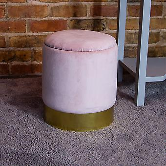 Charles Bentley Round Velvet Storage Dressing Tafel Kruk Footstool Pouffe / Ottomaanse met Gold Base Blush Pink