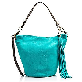FIRENZE ARTEGIANI Real Leather Women's Bag. Women's bag leather genuine suede. Soft touch. Shopper bag. Women's shoulder bag Made in ITALY. REAL ITALIAN PELLE 32x25x18 cm. Color: TURCHESE