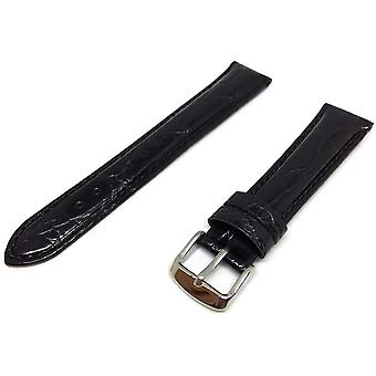 Crocodile grain watch strap black calf leather stainless steel buckle size 8mm to 30mm