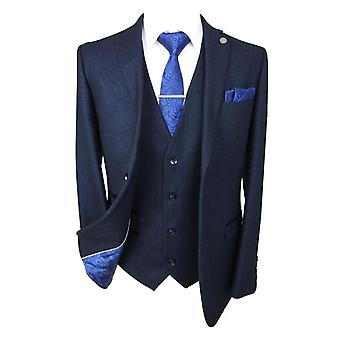 Paul Andrew Mens and Boys Navy Blue Textured Matching Suit