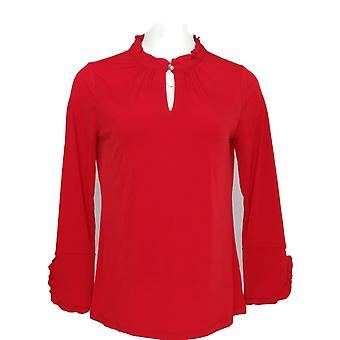 Susan Graver Women's Top Liquid Knit Long Sleeve Ruffle Trim Red A344634
