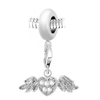 Charm Pearl Heart vitlök orn av Swarovski kristaller av SC Crystal Paris BEA0044-CH0166-silver