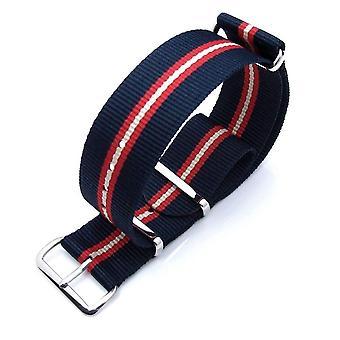 Strapcode n.a.t.o katsella hihna zulu g10 sotilaallinen katsella hihna ballistinen nylon käsivarsinauha, kiillotettu - sininen, punainen, beige