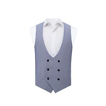Avail London Mens Blue Stripe Waistcoat Skinny Fit Seersucker Double Breasted