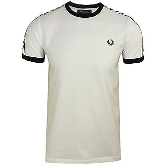 Fred perry men's snow white taped ringer t-shirt