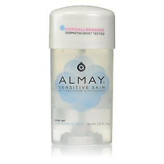 Almay sensitive skin deodorant stick, clear gel, fragrance free, 2.25 oz