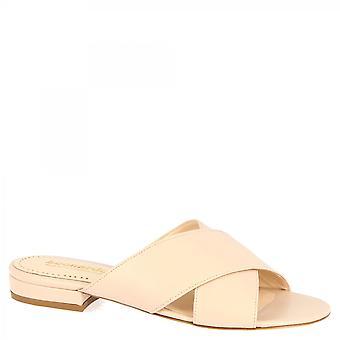 Leonardo Shoes Damskie&s ręcznie robione muły sandały w pudrowej różowej skórze napa