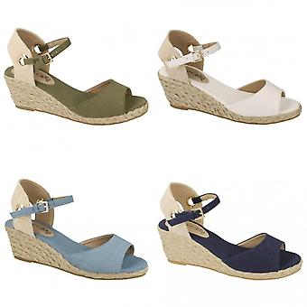 Spot On Womens/Ladies Mid Wedge Espadrille Canvas Summer Shoes