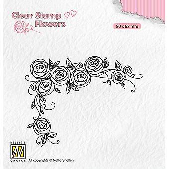 Nellie's Choice Clear postimerkkejä Kukat Ruusut kulma FLO022 80x62mm (11-19)