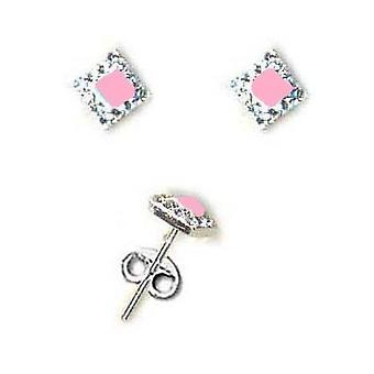 The Olivia Collection Sterling Silver Pink Enamel Crystal Stud Earrings