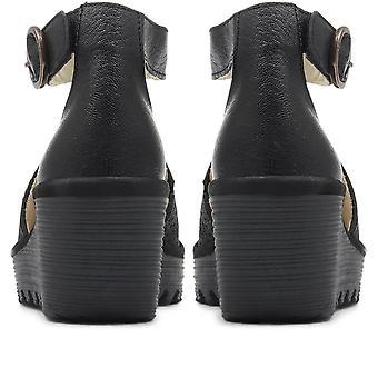 Fly London Womens Yall T-Bar Wedge Heel Sandal