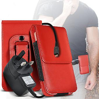 (Red) Case For Xiaomi Mi 4i PU Leather Belt Clip Pouch Holster + 3 pin charger Xiaomi Mi 4i Cover By i-Tronixs